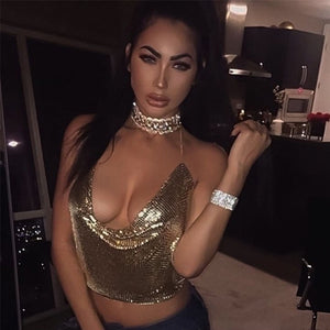 Elegant Metal Crop Top Summer Sexy Club Backless Bralette Beach Halter Gold Sequined Party Women Tank Top Camisole