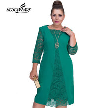 Load image into Gallery viewer, Big Size Elegant Long sleeves Patchwork Lace Dress L-6XL 2019 Spring Dress Women Dresses Plus Size Women Clothing Vestidos