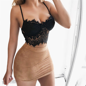 Woman Lace Hollow Tanks Camis Bra Underwear Harness Perspective Bikini Top Underwear Bralett Lace Strap Wrapped Chest Shirt Top