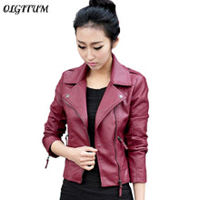 Load image into Gallery viewer, XS-4XL Hot Sale 2019 New Women Spring Autumn Jacket Black/Red Fashion Female Coat Slim PU Leather Short Outwear Jacket Plus Size