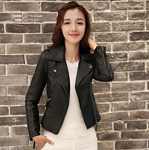 XS-4XL Hot Sale 2019 New Women Spring Autumn Jacket Black/Red Fashion Female Coat Slim PU Leather Short Outwear Jacket Plus Size