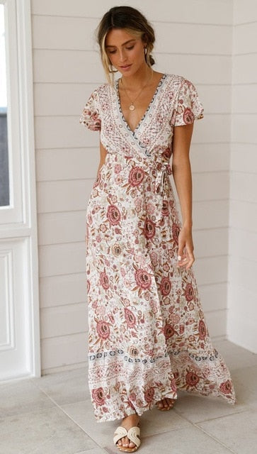 New Popular 2019 Summer Women V-neck Short Sleeve Boho Bohemian Floral Print High Split Beach Long Dress Wrap Maxi Dresses