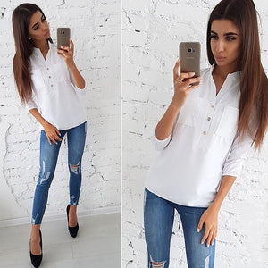 Women 2018 Casual Buttons Pockets Blouses Three Quarter V neck Solid Vintage Shirt Autumn New Fashion Women Tops And Blouse
