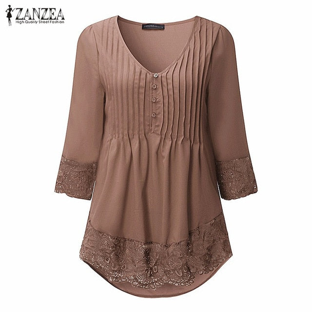 ZANZEA Women 2019 Autumn Elegant Lace Blouses Shirts Sexy V Neck Casual 3/4 Sleeve Asymmetrical Solid Blusas Tops Oversized