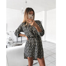 Load image into Gallery viewer, Women's Spring Sexy Leopard Dress Snake Print Striped Long Sleeve V-neck Feminine