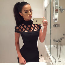 Load image into Gallery viewer, New Fashion Womens Sexy Hollow Out High Neck Dress Ladies Bodycon Slim Short Sleeve Evening Party Pencil Mini Dress