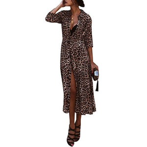 Women Summer Leopard Print Dress Fashion V-Neck Long Dress Sexy Nightclub Split Maxi Dress Womens Dresses New Arrivals