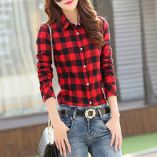 Load image into Gallery viewer, 2019 New Cotton Checkered Plaid Blouses Shirt Cage Female Long Sleeve Casual Slim Women Plus Size Shirt Office Lady Tops Red