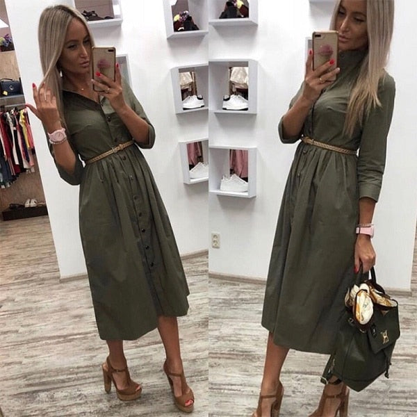 2019 Women Casual Sashes Button A-Line Dress Stand Collar Seven Sleeve Elegant Party Dresses Office Lady Women Knee Length Dress