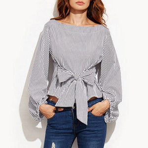 White Office Lady Elegant Striped Print Scoop Neck Long Sleeve Blouse 2018 New Autumn Workwear Women Tops And Blouses