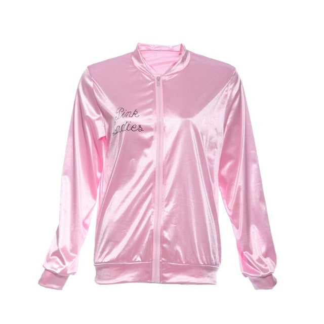 Pink Women Basic Coats Solid Tracksuit for Women Jacket Lady Retro Jacket Women Fancy Dress Grease Costume