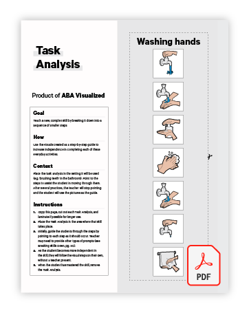Free Task Analyses hand washing ABA Visual