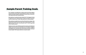 Sample parent training goals in the Book in the Book TeleHelp with ABA Visualized - A Visual Telehealth Guidebook for BCBAs