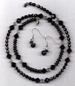Black and White Crystal Beads Jewelry Set