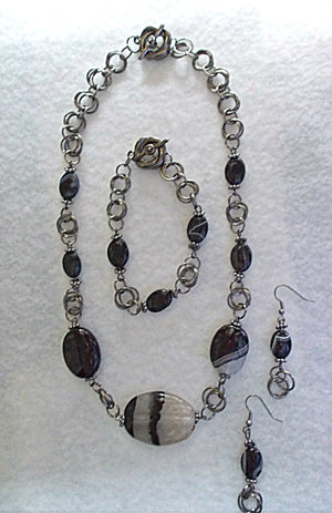 Chain Maille Agate Jewelry Set