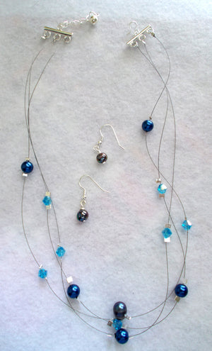 Denim Crystal Jewelry Set