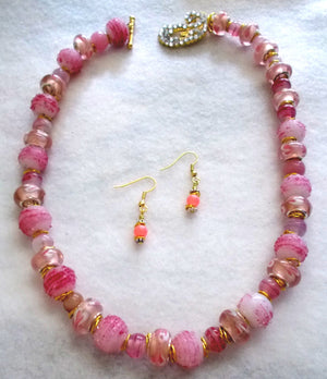 Fancy Pink Necklace and Earrings Set