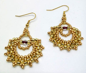 Peyote Fan Earrings Gold