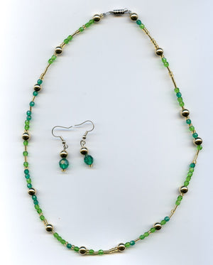 Green and Gold Ensemble Jewelry Set