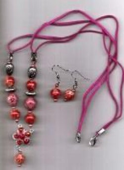 Hot Pink Necklace and Earrings