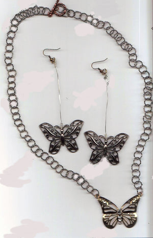 Large Butterflies Jewelry Set