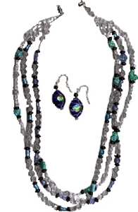 Multi-Strand Turquoise Necklace and Earrings Set