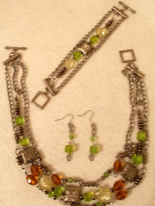 Peridot and Amber Strands Jewelry Set