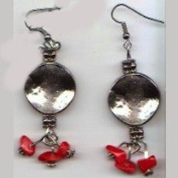 Platinum and Red Earrings