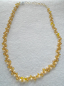 Right Angle Weave Gold and White Necklace