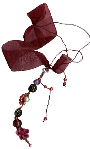 Red & Gold Organza With Ringed Pearl Bookmark