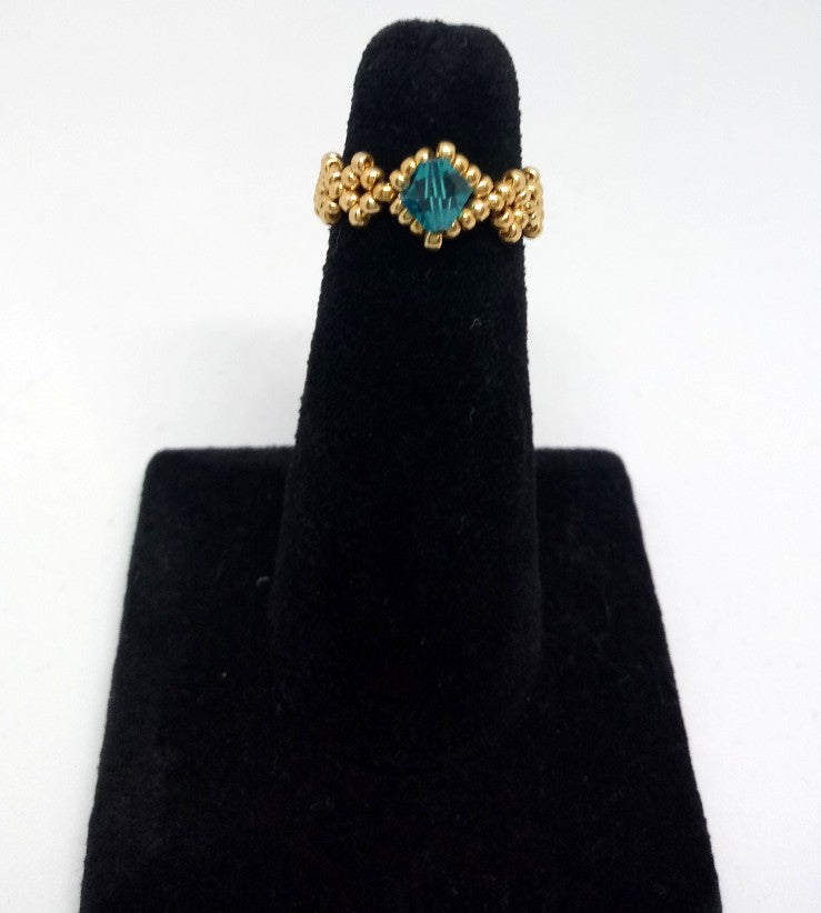 Dainty Beaded Ring gold/teal