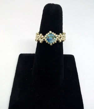 Dainty Beaded Ring Silver/Blue
