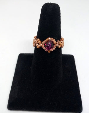 Dainty Beaded Ring rose gold/pink
