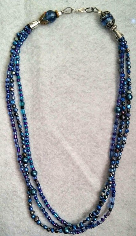 Triple Strand Blues Necklace