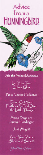 Advice from a Hummingbird Bookmark