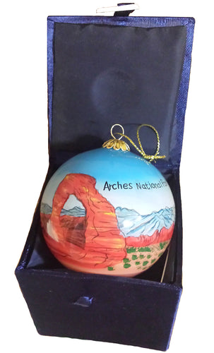 Arches Hand-Painted Glass Ornament