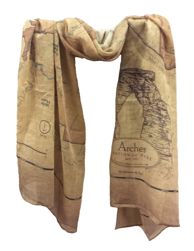 Arches National Park Map Scarf