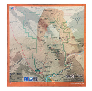 Arches and Canyonlands Map Microfiber Cloth Bandana