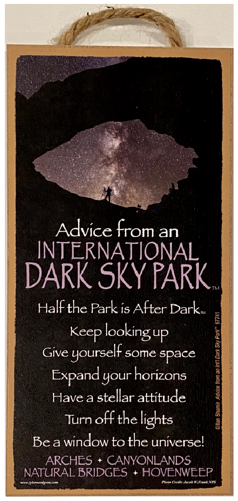 Advice from an IDA Park Hanging Wood Sign