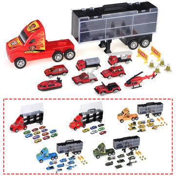 Transport Car Toy Container Truck Carrier Kids Mini Toy Diecast Cars Model Set Gift