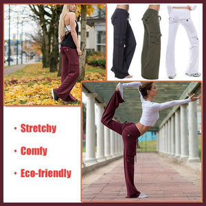 Casual Wide Leg Sweatpants Stretchy Multi-Pockets Bamboo Bootleg Flare Pants