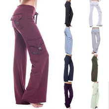 Load image into Gallery viewer, Casual Wide Leg Sweatpants Stretchy Multi-Pockets Bamboo Bootleg Flare Pants