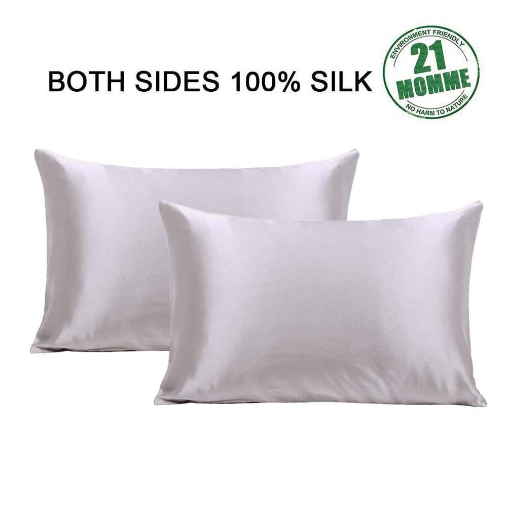 100% Silk Pillowcase, Anti-Dust Mites and Dry Hair, Moisture Retention and Less Friction(BUY 1 GET 1 FREE)