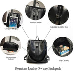 Premium Leather 3-way Backpack