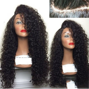 Top quality 100% human hair lace wigs kinky curly