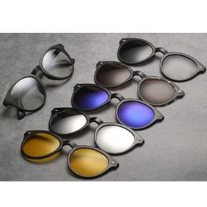 5 in 1 Swappable Sunglasses Five-piece Magnetic Suction Clip Sunglasses