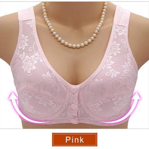 Front Button Wireless Cotton Full Coverage Soft Sleeping Padded Bra