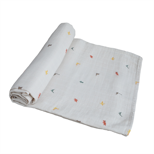 (Coming Soon) Muslin Swaddle Blanket Organic Cotton - Dinosaurs