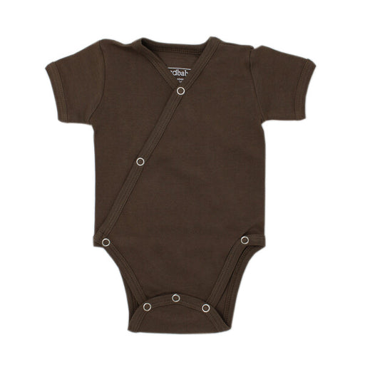 Organic Short-Sleeve Kimono Bodysuit in Bark - Earth Mart