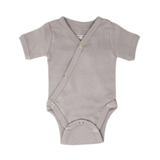 Organic Short-Sleeve Kimono Bodysuit in Light Gray - Earth Mart